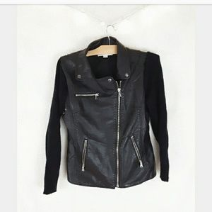 Vintage Havava faux leather and knit jacket